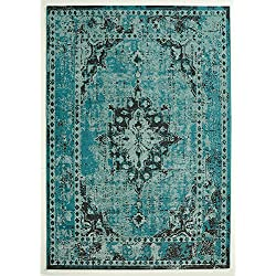 Design Teppich Vintage Used Antik türkis 80 x 150 cm