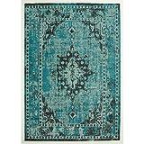 Design Teppich Vintage Used Antik türkis 200 x 290 cm