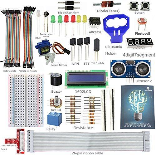 sunfounder-lcd-ultrasonic-relay-sensor-electronic-bricks-starter-kit-w-26-pin-gpio-extension-board-g
