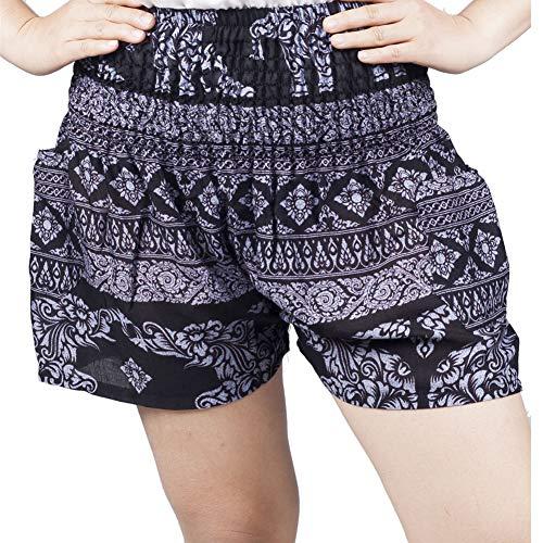 Lofbaz Mujer Rayón Elefante Pantalones Corto Olare Negro M