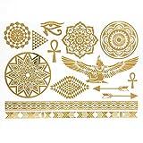 Tatoo Body - Conjunto de 14 tatuajes temporales metálicos, resistentes al agua, diseño de tipo egipcio, dorado