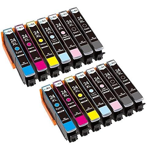 LxTek Compatible Cartouches d'encre Epson 24 XL (4 Noir, 2 Cyan, 2 Magenta, 2 Jaune, 2 Light Cyan, 2 Light Magenta) pour Epson Expression Photo XP-55 XP-750 XP-760 XP-850 XP-860 XP-950 XP-960 Imprimante