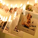 10 Clips fotos LED Luces cuerdas 1.5 m, Luces clavija fotos Luces hadas navideñas que funcionan con pilas Perfecto para colga