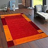 Paco Home Teppich Handgewebt Gabbeh Hochwertig 100% Wolle Borde in Terrakotta Orange, Grösse:120x170 cm