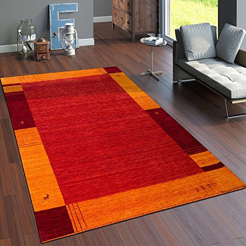 Paco home tappeto tessuto a mano gabbeh pregiato 100% lana bordi in terracotta arancione, dimensione:160x230 cm