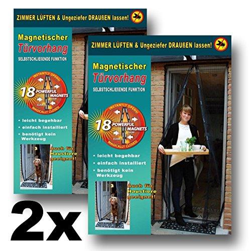 2x Magnetischer Türvorhang 100x210cm schwarz Fliegenvorhang mit Magneten Moskitonetz Fliegengitter Mücken Insektenschutz Türvorhang