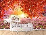 Yosot Benutzerdefiniertes Hintergrundbild Ahorn Rote Blätter Weißes Pferd 3D-Frischen Tv Hintergrund Wände Wohnzimmer Schlafzimmer Wandbilder 3D Tapete-300Cmx210Cm