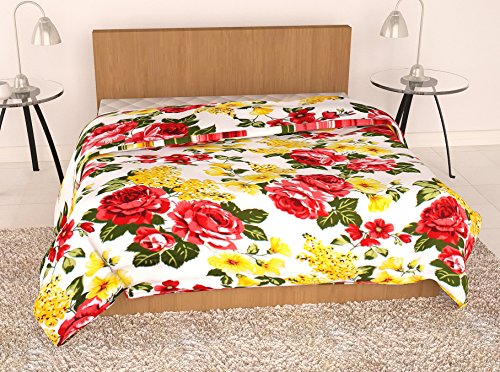 Story@Home Feather Touch Floral Microfibre Single Quilt - Yellow