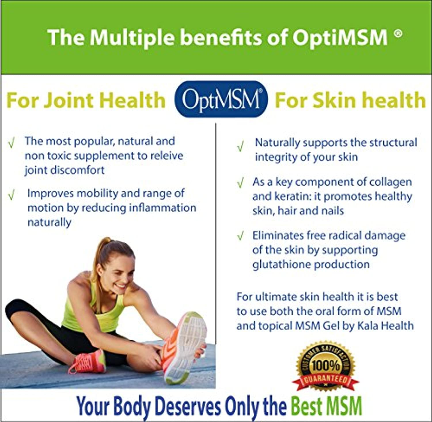 Kala Health - OptiMSM Powder Coarse Flakes (500 g Container)  This Pure MSM  Supplement is the ONLY Methylsulfonylmethane Made in the USA - The Organic