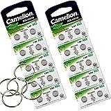 Camelion by SBS Knopfzelle Alkaline Batterie LR 41 AG3 20 Stück 1,5V + 5x Schlüsselringe gratis