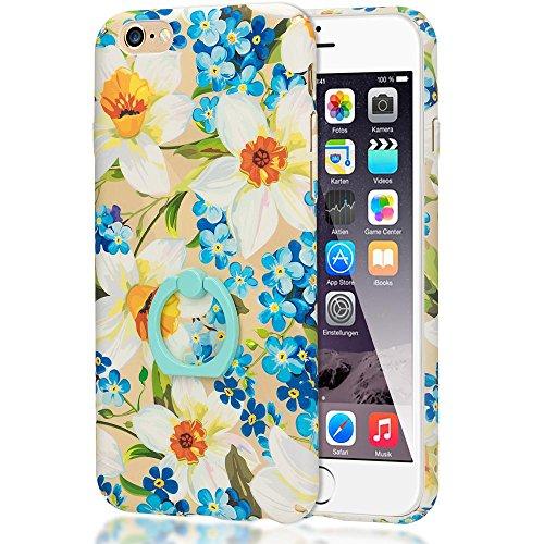 iPhone 6 6S Ring Hülle Handyhülle von NICA, Motiv Schutzhülle mit 360-Grad Fingerhalterung, Dünnes Hard-Case mit Ständer, Slim Back-Cover Etui für Apple i-Phone 6S 6 Phone, Designs:Passion Flower Daffodils