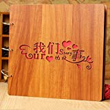 xytmy nuestra historia álbum de fotos Vintage de madera a mano Creative álbum DIY álbum de recortes aniversario boda luna de miel de viaje de 12pulgadas Alum