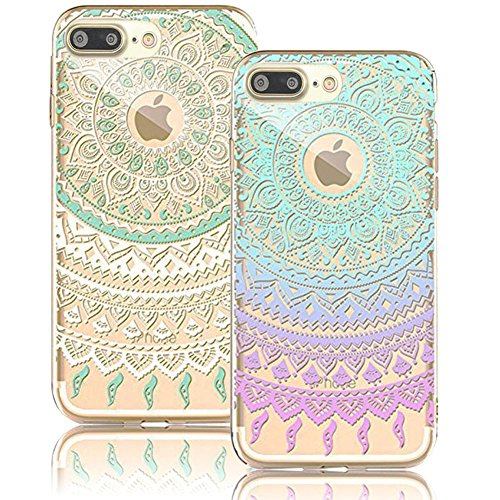 Custodia iPhone 7 Plus,iPhone 7 Plus Cover, Bonice 2pcs Caso Divertente Colorato Cristallo Bling Strass Fiore Trasparente Ultra Sottile Morbido TPU Gel Case Cover per iPhone 7 Plus (5.5 Inch), mandala model 05