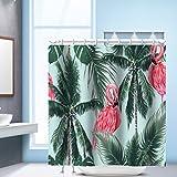 [Patrocinado]SLHP cortina de ducha de alta calidad resistente al agua y Mildewproof poliéster cortinas de baño digital impreso Flamingo Anti-mildew Unicorn Cutains duradera con ganchos, Flamingo007, 150cmx180cm
