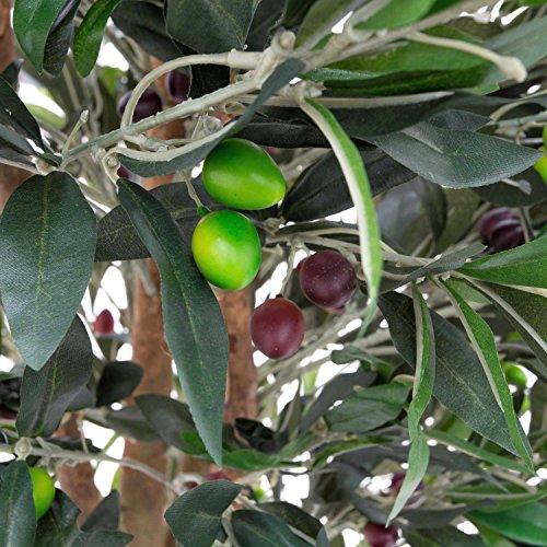 artplants – Künstlicher Olivenbaum mit 3970 Blättern, 370 Oliven, Naturstamm, 250 cm – Baum mit Oliven/Künstlicher Baum