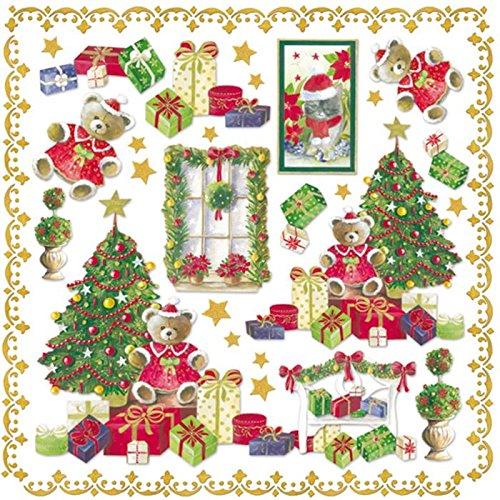 Tovagliolo Carta di riso Albero di Natale ed orsetto © Stamperia DFT216