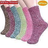 Emooqi Calcetines de Lana, Calcetines de Lana Cálidos de Confort Casual de Mujer de Invierno UK 4~6.5 y Eu 34.5~39 (Paquete de 6)