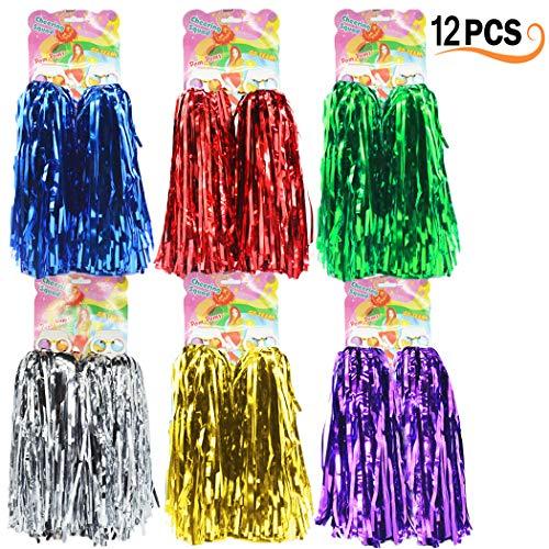 12er Pack Cheerleading Pom Poms - Ultra Shining Pom Pom Cheerleader Puschel Tanzpuschel Party Sport Fußball Zubehör (6 Farben)