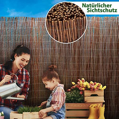 casa pura® Weidenzaun Sichtschutz - Fachhandel-Qualität - kürzbar, rostfrei - Weidenzaunmatte Weidenmatte - Weiden Sichtschutzmatte - Natur Sichtschutz aus Holz - viele Größen - 200 x 300 cm