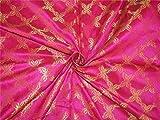 TheFabricFactory Brokat Stoff Pink x Metallic Gold Farbe