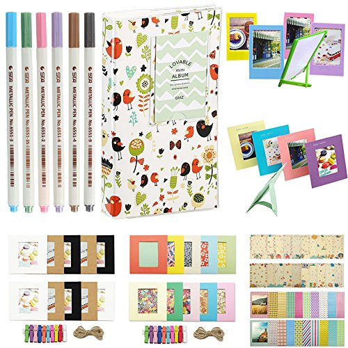 Katia Sofortbildkamera Instax Mini 8 Zubehör - Mini Buch Album - Mini 8 Camera Strap - Bilderrahmen - Film-Aufkleber Border - Wand-Dekor Hängerahmen - Foto Pens Set 14 - Blumen und Vögel