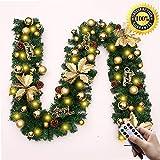 Morbuy Weihnachtsgirlande mit Beleuchtung, Tannengirlande Remote 8 Modus Lichterkette Weihnachten Dekoration 2.7 Meter für Innen und Außen Verwendbar (Gold)