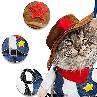 DELIFUR Christmas costumes,The Cowboy for Party Christmas Special Events Costume,West CowBoy Uniform with Hat, Funny Pet Cowboy Outfit Clothing for Dog Cat by DELIFUR