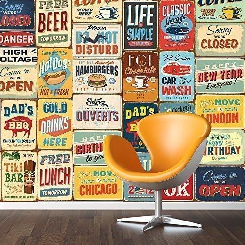 Walplus 152x 161cm Pegatinas de Pared Vintage Metal Sign Collage 1Pack extraíble Adhesivo Mural Art Adhesivos Vinilo decoración del hogar Bricolaje Salón Dormitorio Decoración Papel Pintado