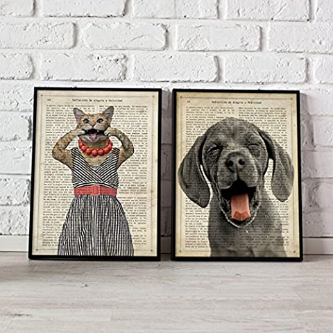 Pack of Sheet for framing Animals burlones. Posters Style Watercolor Painting with Images of Animals. Decoration of Home. Sheets for framing Paper 250Grams High