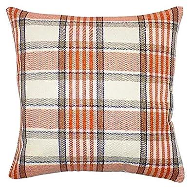 "Tartan Orange, Brown & Cream 18"" Cushion Cover Soft Woven Tweed Fabric"