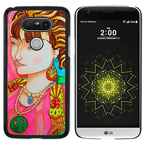 LG G5 / H850 VS987 H820 LS992 H830 US992 - Aluminum Metal & plastica dura Phone caso - nero - La donna del ritratto Collana Simbolo Hippie