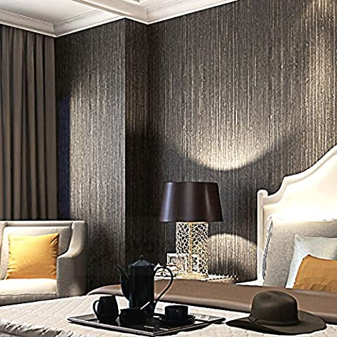 Cunguang Metallic Vertical Faux Emboss Texture Wallpaper Modern Plain Solid Color Vinyl Straw Wall Paper For Hotel Brown Black