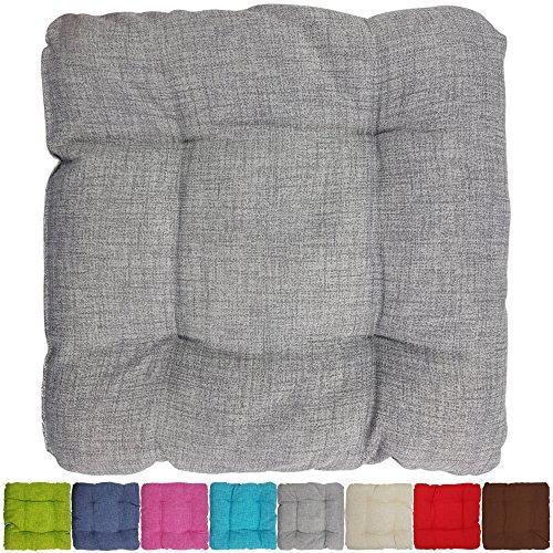 proheim Outdoor Stuhl-Kissen 40 x 40 x 8 cm wasserabweisendes Sitz-Kissen mit Fleckenschutz stark gepolstertes Weichstuhl-Kissen für Indoor und Outdoor, Farbe:Grau Outdoor Stuhl Kissen