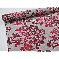 Confeccion Saymi – Metraje 2,45 mts tejido loneta estampada Ref. Damasco Grand Rojo, con ancho 2,80 mts.