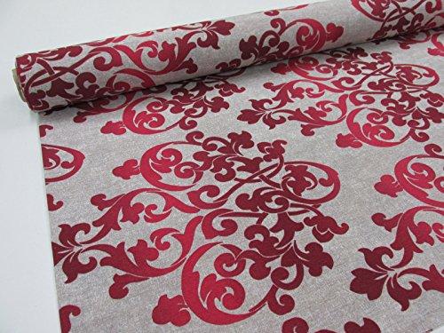 Confección Saymi Metraje tejido loneta estampada Ref. Damasco Grand Rojo, con ancho 2,80 mts. (2,45x2,80m)