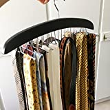 HOMFA Krawattenhalter und Gürtelhalter aus Holz für 20 Krawatten und 4 Gürtel Hochwertiger Krawattenbügel zur Krawatten-Aufbewahrung schwarz