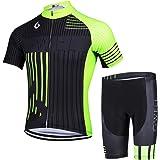 GWELL Fietsshirt voor heren, fietsshirt met lange mouwen + fietsbroek met zitkussen, fietskleding, MTB-sportpak, fleecevoerin