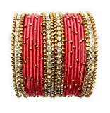 #9: Sai Handmade Silk Thread Studded with Zircon Bangle Set for Women & Girls