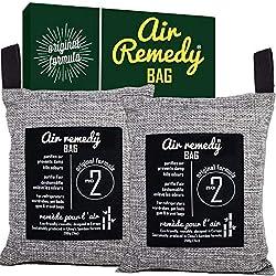 Absorbeur d'Odeur, Purificateur d'air, Charbon de Bambou - 200g x 2, Desodorisant Frigo, Desodorisant WC et Parfum WC, Sachet Armoire, neutraliseur d'odeur ...