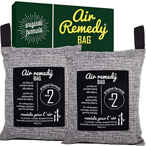 Air Remedy Bag Deumidificatore per Auto e Deodorante per casa, con Carbone Attivo di bambù, assorbe Gli odori per la Cucina, assorbe l'umidità dell'auto, Deodorante Naturale Moso