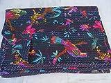 Handgefertigt Vogel gedruckt Kantha Quilt, Twin Größe Kantha Betten, indische Baumwolle Tagesdecke, Bohemian Kantha Werfen, Floral Bett Cover