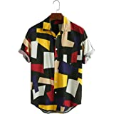 Veronica Closet Men's Casual Printed Multi Color Linen Cotton Shirts for Men