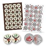 Weihnachtsaufkleber-Set: 24 Adventskalender-Zahlen HIRSCH + 24 grau weiß rote Frohe Weihnachten Frohes Fest Geschenkaufkleber Verpackung Papiertüten zukleben basteln Geschenke Sticker