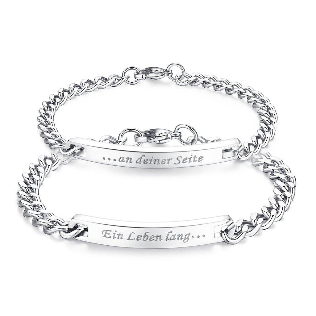 coai® Geschenkideen EIN Leben Lang und an deiner Seite Gravur EIN Paar Partner Ambänder aus Edelstahl
