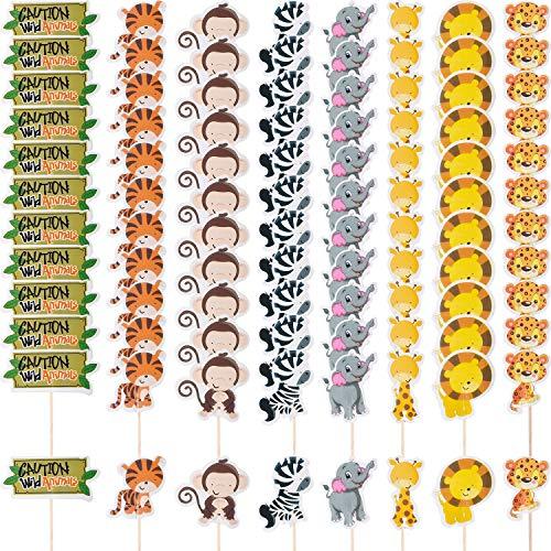 Boao 96 Stücke Cupcake Toppers Tier Kuchen Deckel Tierpark Tier Cupcake Dekoration für Tierpark Thema Geburtstag Party Lieferungen