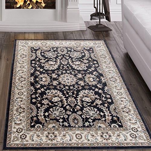 Tapiso Dubai Teppich Klassisch Gemustert Traditionell Orientalisch Kurzflor in Schwarz Creme mit Ornament Floral Muster mit Bordüre Ideal für Wohnzimmer Ökotex 60 x 100 cm