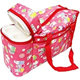 Neysa Multi Purpose Baby Diaper Mother Bag With 2 Bottle Holders - Keep Baby Bottles Warm (Red) - Assorted Prints
