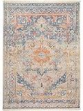 benuta Vintage Teppich im Used-Look Safira Blau 133x185 cm | Moderner Teppich für Schlafzimmer und Wohnzimmer