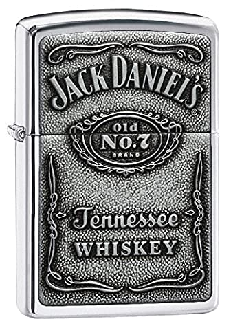 Zippo Original Polished Chrome Lighter with Genuine Pewter Jack Daniels Label