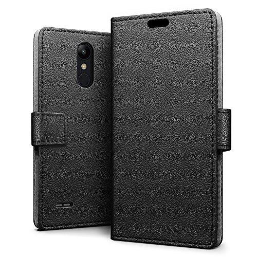 SLEO LG K9/LG K8 2018 Hülle, PU Leder Case Tasche Schutzhülle Flip Case Wallet im Bookstyle für LG K9/LG K8 2018 Cover - Schwarz